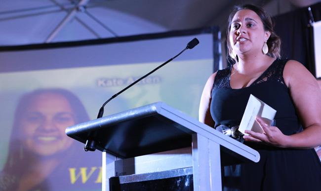 Kate Axten making a speech
