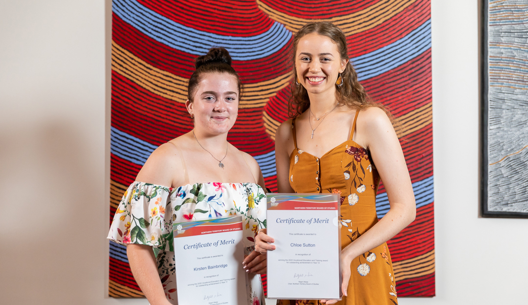 Kirsten Bainbridge (left) receives her award with vocational trainee Chloe Sutton on 4 February at DoubleTree by Hilton, Alice Springs.