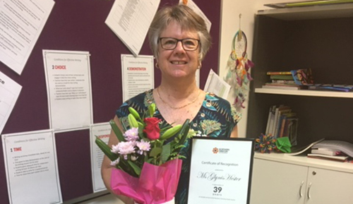 Teacher Glynis Hester retires after 39 years.