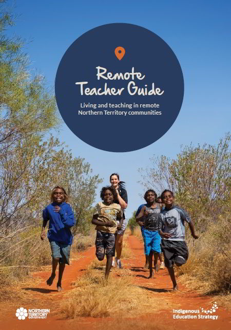 image of children and teacher playing in the outback
