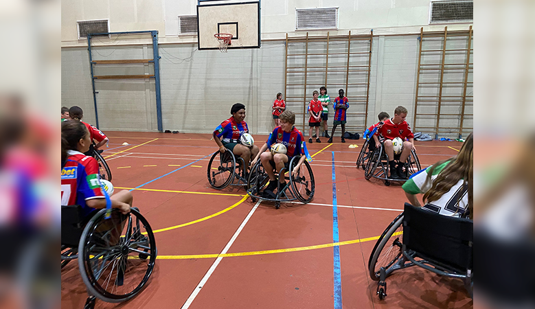 Wheelchair navigation tested in rugby clashes
