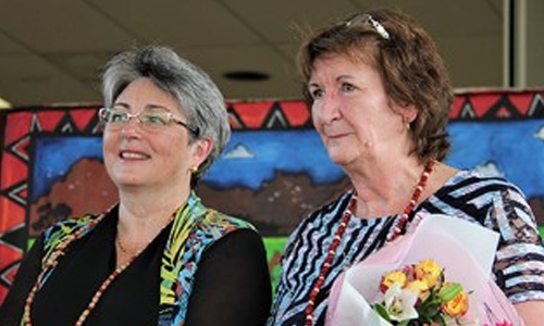 Vicki Baylis with outgoing Gunbalanya School principal Sue Trimble.