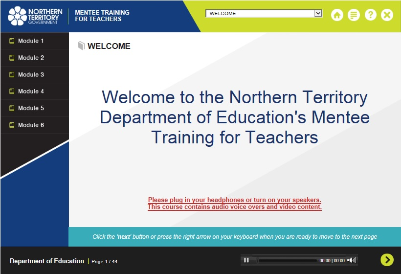 Mentee Training Screen